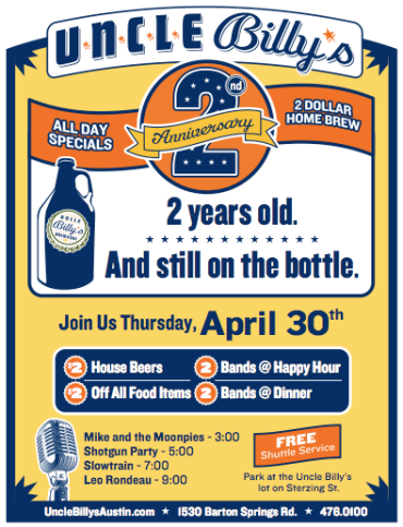 Uncle Billy's 2nd Anniversary flyer