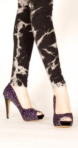 Luster plum faux pony high heels