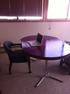 home office with purple table